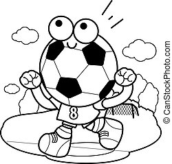 Cheering cartoon soccer ball. Vector black and white coloring page