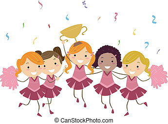 Cheering Champion - Illustration of Cheerleaders Showing...