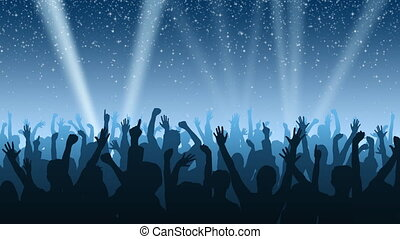 A cheering crowd under a night sky full of twinkling stars, with spotlights sweeping the background.