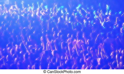 Multi-colored lights flashing across a crowd of cheering fans at a concert