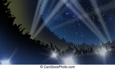Crowd of cheering silhouettes in a packed arena under the stars, with spotlights and camera flashes