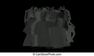 cheering crowd in darkness, dance