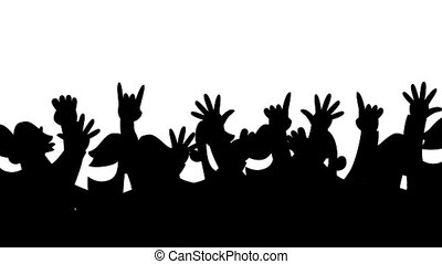 Loopable cartoon animation of a cheering crowd. Silhouette version.