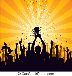 Vector illustration of a cheering crowd celebrating victory.