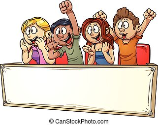 Cheering crowd with banner. Vector clip art illustration ...
