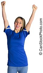 Cheering football fan in blue jersey on white background