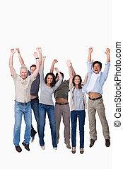 Cheering group jumping