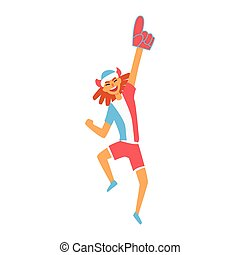 Cheering Happy Supporter Of French National Football Spots Team, Fan And Devotee With Attributes. Sportive Support Team Member With Flag Screaming And Smiling On A Stadium Vector Illustration.