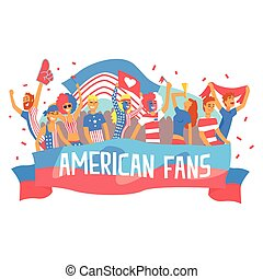 Cheering Happy Supporting Crowd Of National American Football Spots Team Fans And Devotees With Banners And Attributes