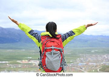 cheering hiking woman enjoy the beautiful view at mountain ...