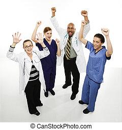 cheering., médecins