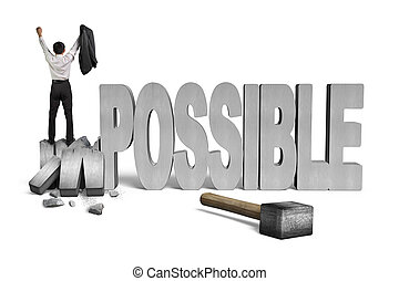 cheering man standing on cracked impossible 3D concrete word