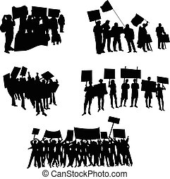 Cheering or protesting crowd silhouettes