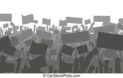 Cheering or protesting crowd with flags