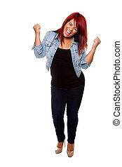 Cheering Red Headed Woman - Young woman proudly cheering...