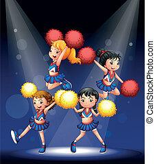 cheering, squad, pompoms, røde gule