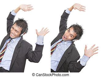 Cheering successful telemarketer