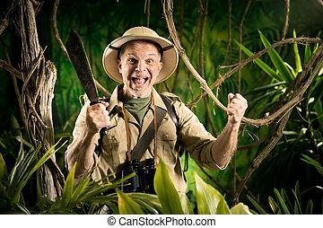 Cheering survival explorer in the jungle