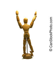 cheering wooden mannequin, puppet, isolated
