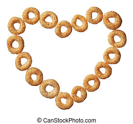 Cheerios cereal in a heart shape isolated on white background