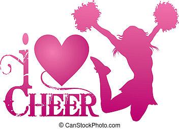 cheerlead, bemoedigen, springt, liefde