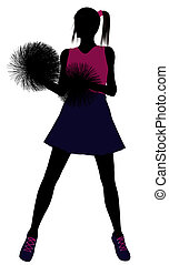 cheerleader , περίγραμμα , επάνω , ένα , αγαθός φόντο