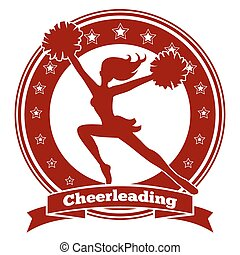 Cheerleader badge or cheer logo. Red silhouette of a girl...