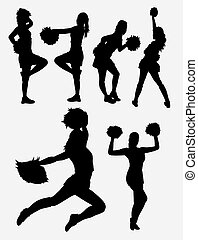 cheerleader, bailarino menina, silueta