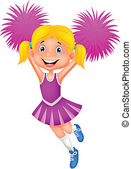 Cheerleader cartoon with Pom Poms - Vector illustration of...
