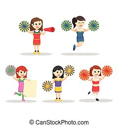 cheerleader character set illustration design