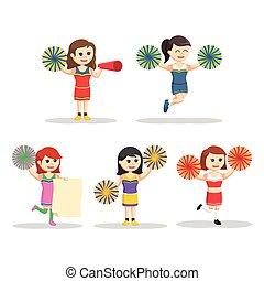 cheerleader character set illustration design