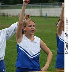 Cheerleader Cheering 4 - Youth Teen Cheerleader Cheering at...