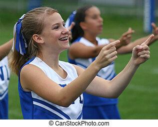 Cheerleader Cheering - Teen Youth Cheerleader Cheering at...