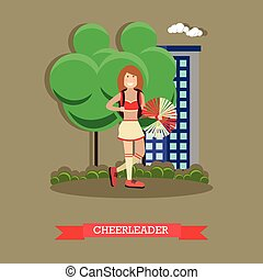 Cheerleader concept vector illustration in flat style