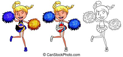 Cheerleader dancing in three different drawing styles