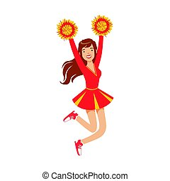 Cheerleader girl jumping with red and yellow pompoms. Colorful cartoon character vector Illustration