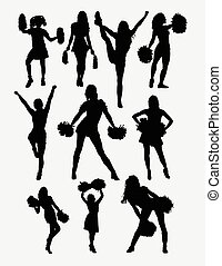 Girl cheerleader pose silhouette. Good use for symbol, logo, web icon, character, game element, sign, mascot, or any design you want. Easy to use.