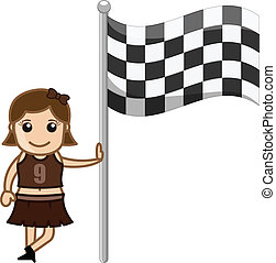 Cheerleader Girl Standing with Flag