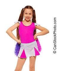 Cheerleader girl - Beautiful cheerleader girl with long dark...