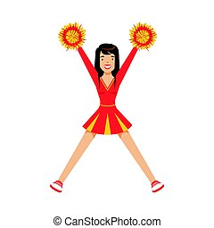 Cheerleader girl teenager dancing with red and yellow pompoms. Colorful cartoon character vector Illustration