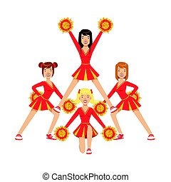 Cheerleader girls with pompoms dancing to support football team during competition. . Colorful cartoon character vector Illustration