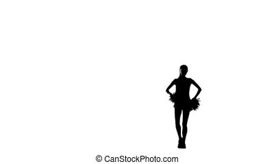 Cheerleader. Isolated On White Background. Silhoutte, slow...