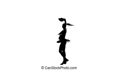 Cheerleader. Isolated On White Background. sits on the twine. Silhoutte, slow motion