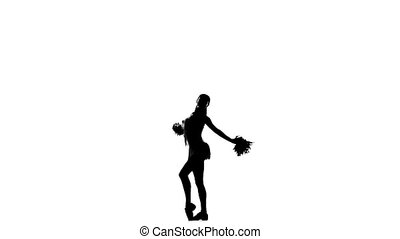 Cheerleader. Isolated On White Background. Silhoutte, slow motion, pom-poms in hand.