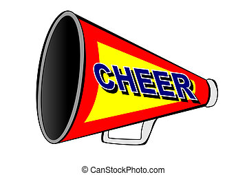 Cheerleader megaphone - A Cheerleader megaphone on white