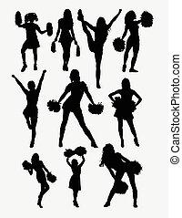 cheerleader, menina, pose, silueta