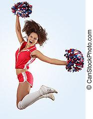 cheerleader, menina, pular