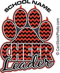 cheerleader paw print - chevron cheerleader team design with...