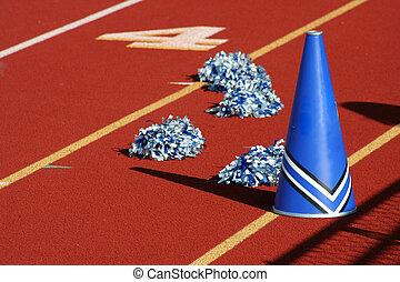 cheerleader, pom poms, en, megafoon