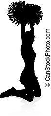 Cheerleader Pom Poms Silhouette - Detailed silhouette...